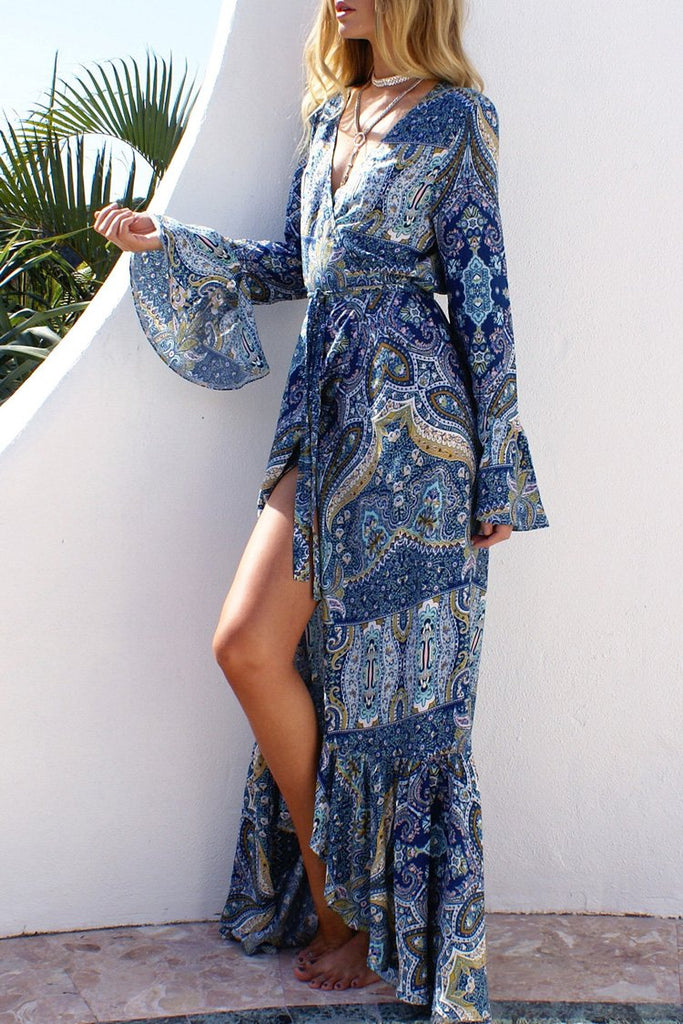 Blue Bohemian Printed Maxi Dress BS79