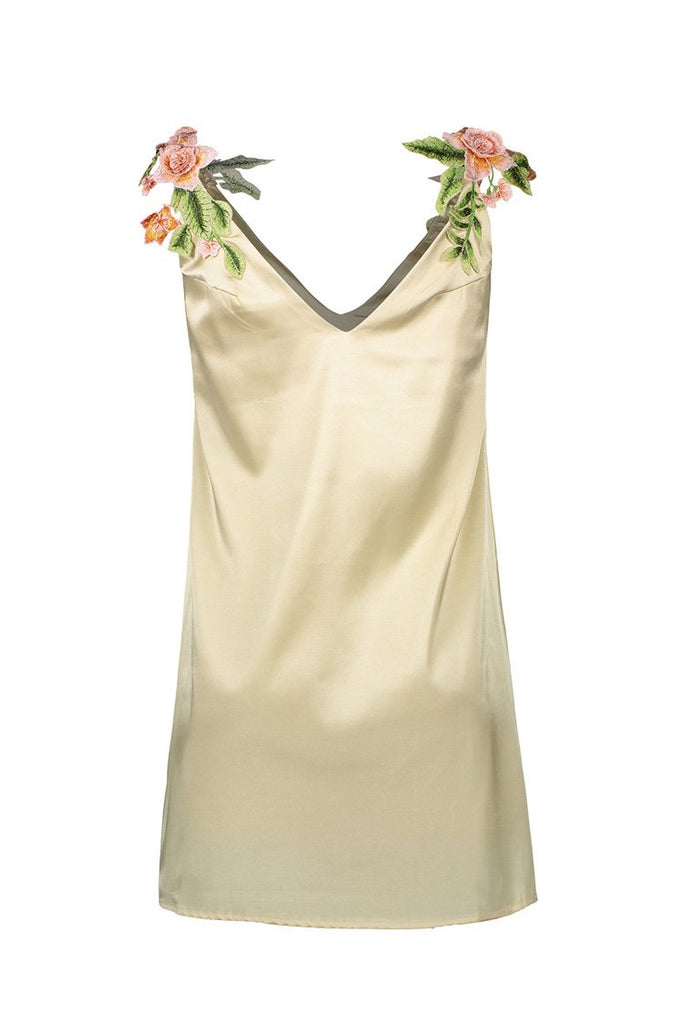 Embroidered Floral V-neck Satin Dress for Women BS85