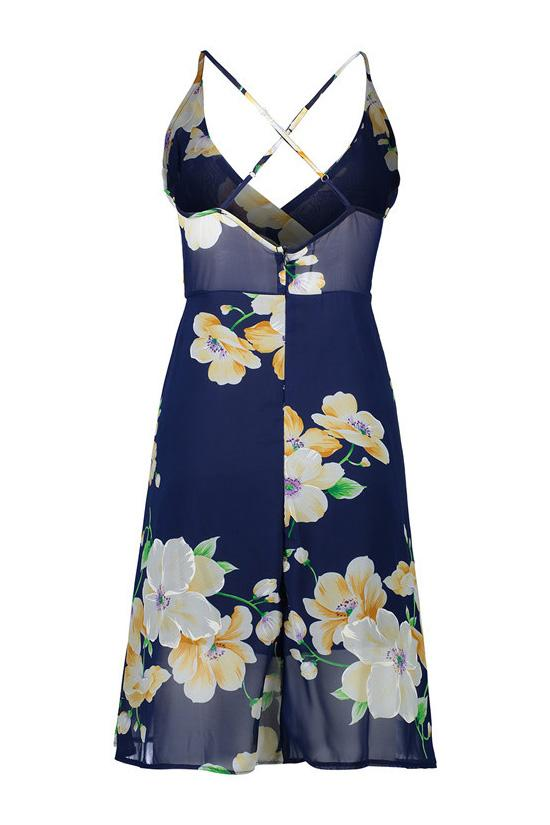 Dark Blue Floral Beach Chiffon Dress BS84