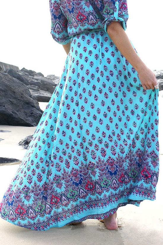Boho Style Printed Maxi Dress BS101