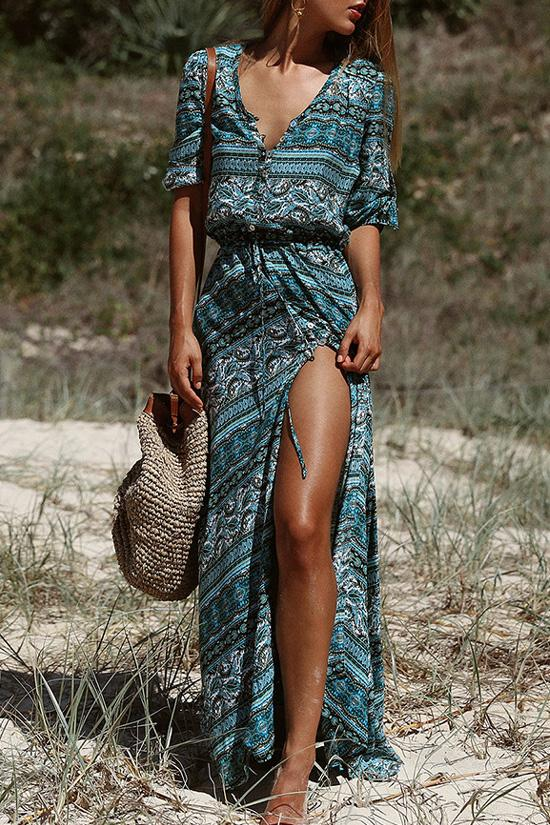 Blue Boho Style Printed Maxi Dress BS100