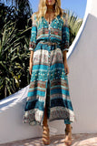 Green Boho Style Printed Maxi Dress BS99