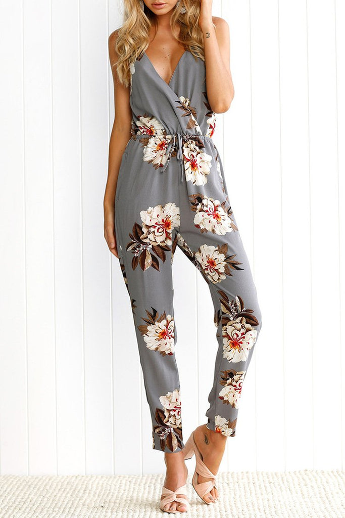 Gray Spaghetti Straps Floral Jumpsuit BS116