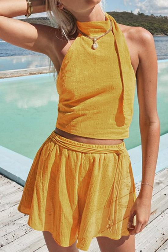Yellow Halter Crop Top with Shorts BS73