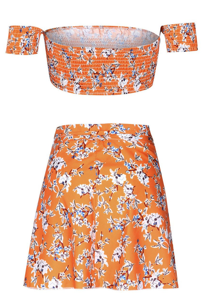 Orange Floral Crop Top with Mini Skirt BS68
