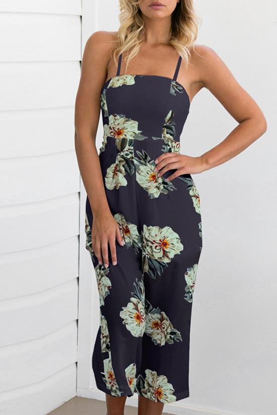 Cropped Jumpsuit in Floral Printed BS62