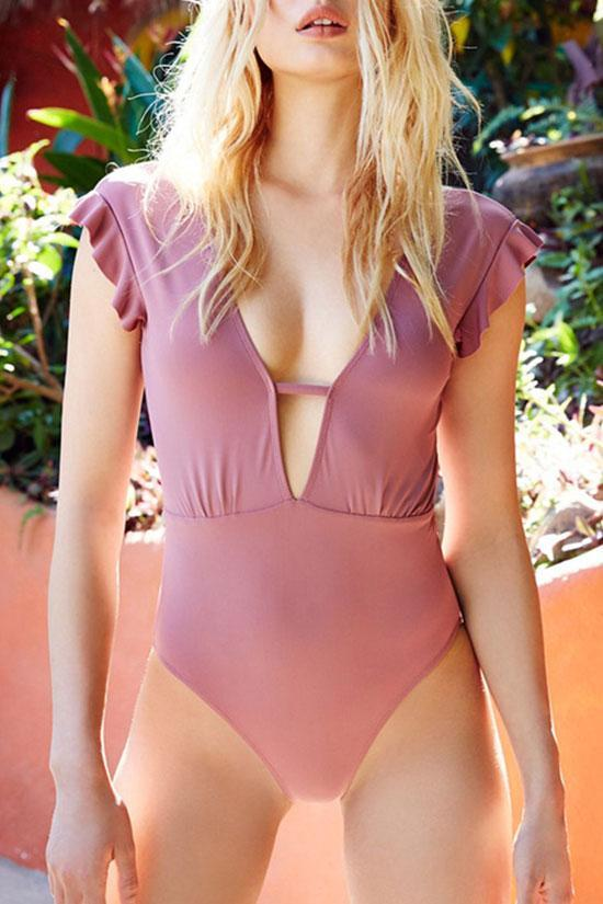 One Piece Lovely Pink Ruffle Plunged Neck Swimsuit SO302