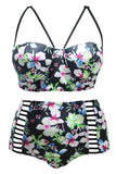 Hawaii Floral Strappy High Waisted Plus Size Bikini Swimsuit SK0164