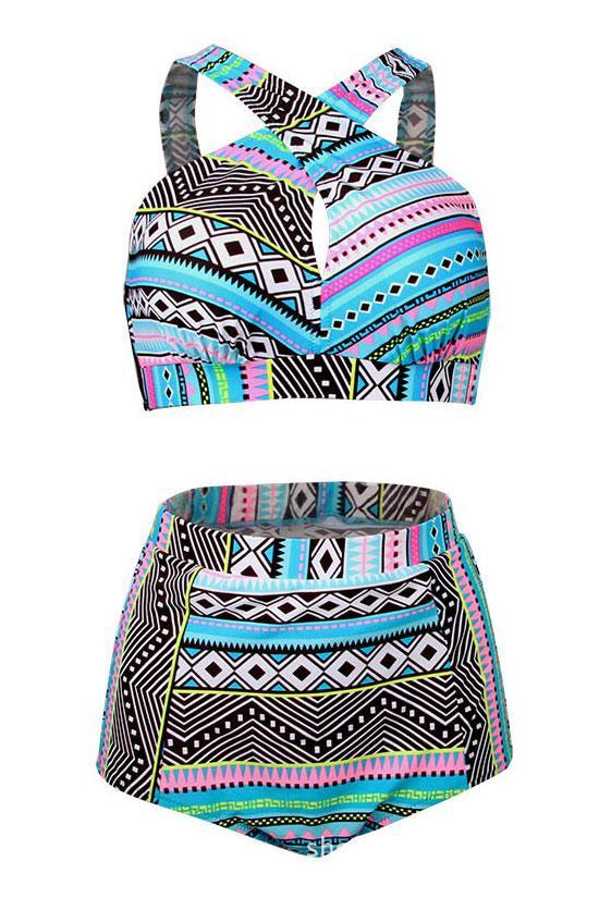 Ethnic Geometric Print High Waisted Halter Plus Size Bikini Swimsuit SK0217