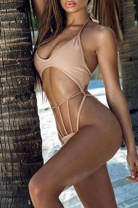 One Piece Stylish Strappy Cut Out Swimsuit SO137