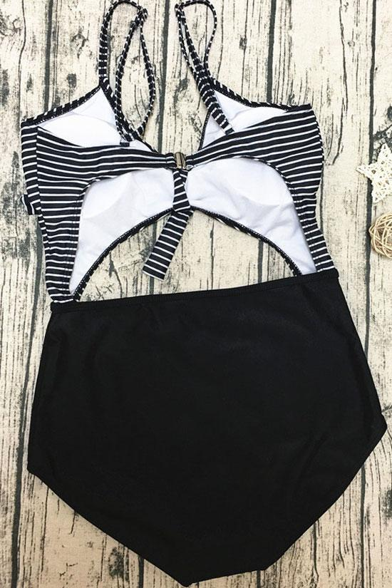 One Piece Striped Knotted Cut Out Swimsuit SO095