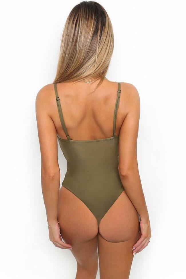 High One Piece Leg Cut Out Knotted Swimsuit SO006
