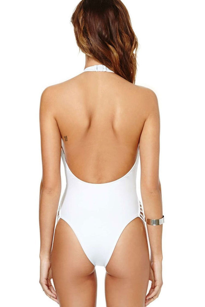 One Piece Stylish Strappy Halter Monokini Swimsuit SO459