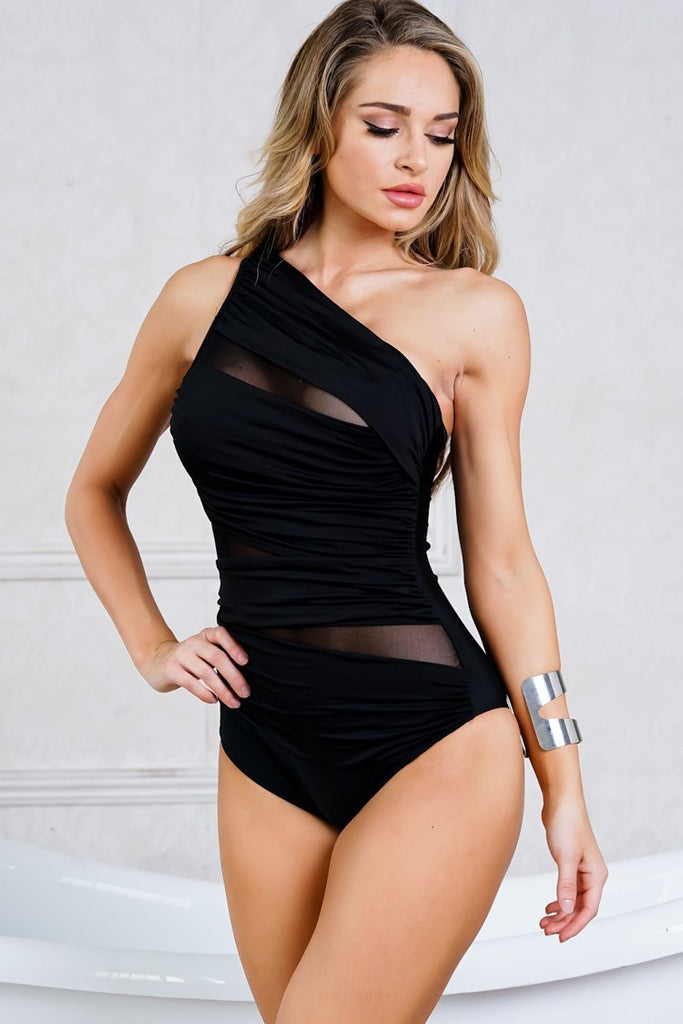 One Piece Sexy Mesh Panel Ruched Single Shoulder Swimsuit SO220