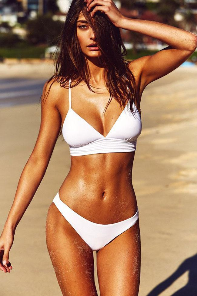 Two Piece Solid Strappy Lace Up Triangle Bikini Swimsuit SB210