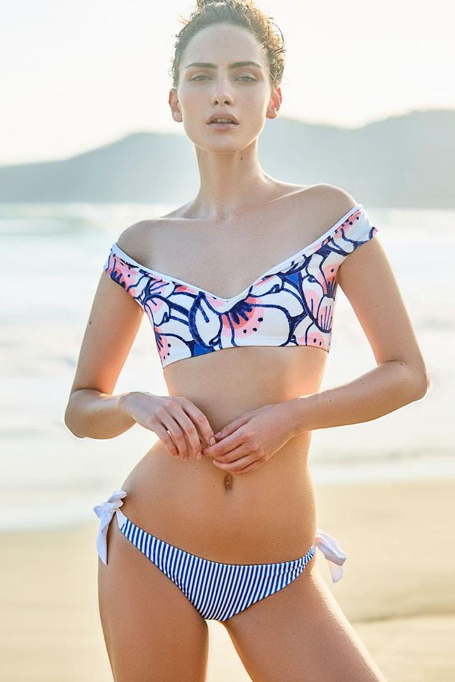 Refreshing Lace Up Stripe V Neck Bandeau Two Piece Set Bikini Swimsuit SK0339