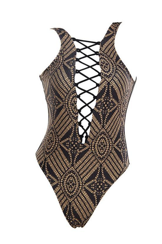 One Piece Ethnic Printed Crisscross High Leg Swimsuits SO346
