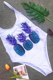 One Piece Pineapple Printed Low Back High Leg Swimsuit SO219