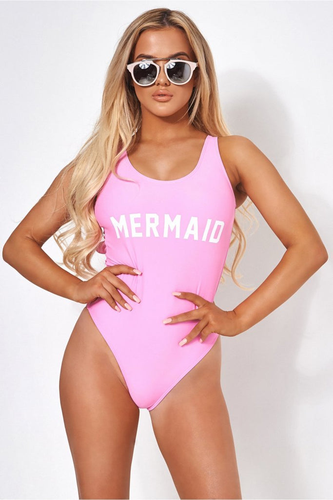 Pink Slogan One Piece Swimsuit SO026