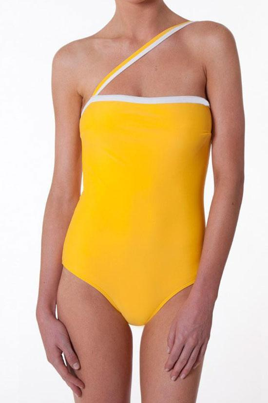 One Piece Color Block One Shoulder Swimsuit SO391