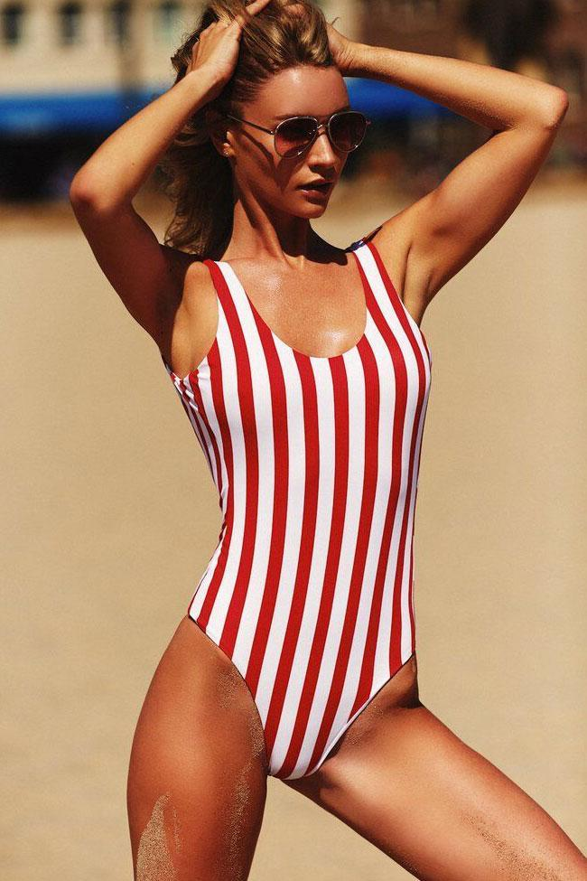 One Piece Sportive Striped High Leg Swimsuit SO167