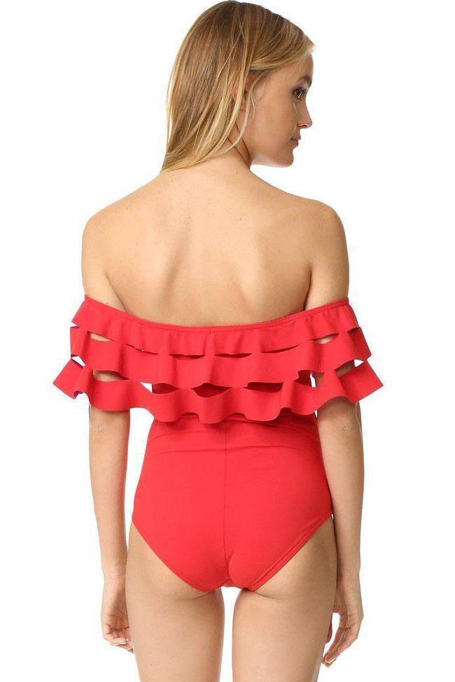 One Piece Layered Hollow Out Ruffle Off The Shoulder Swimsuit SO343