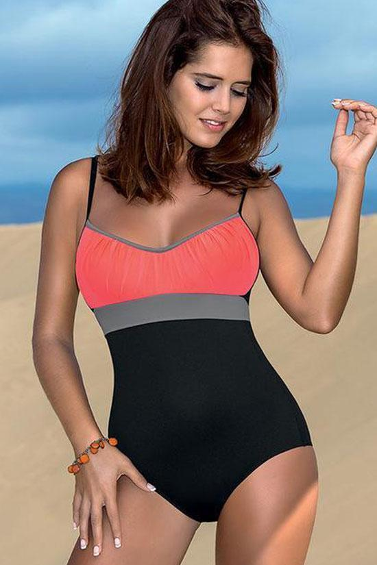 One Piece Sport Color Block Strappy Ruched Swimsuit SO385