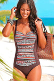 One Piece Ethnic Color Block Ruched Diamond Neck Push Up Swimsuit SO449