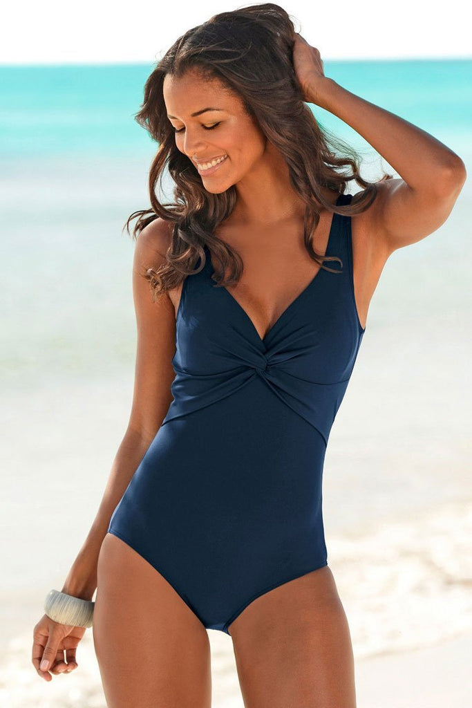 One Piece Solid Scoop Back Ruched Twist V Neck Swimsuit SO341