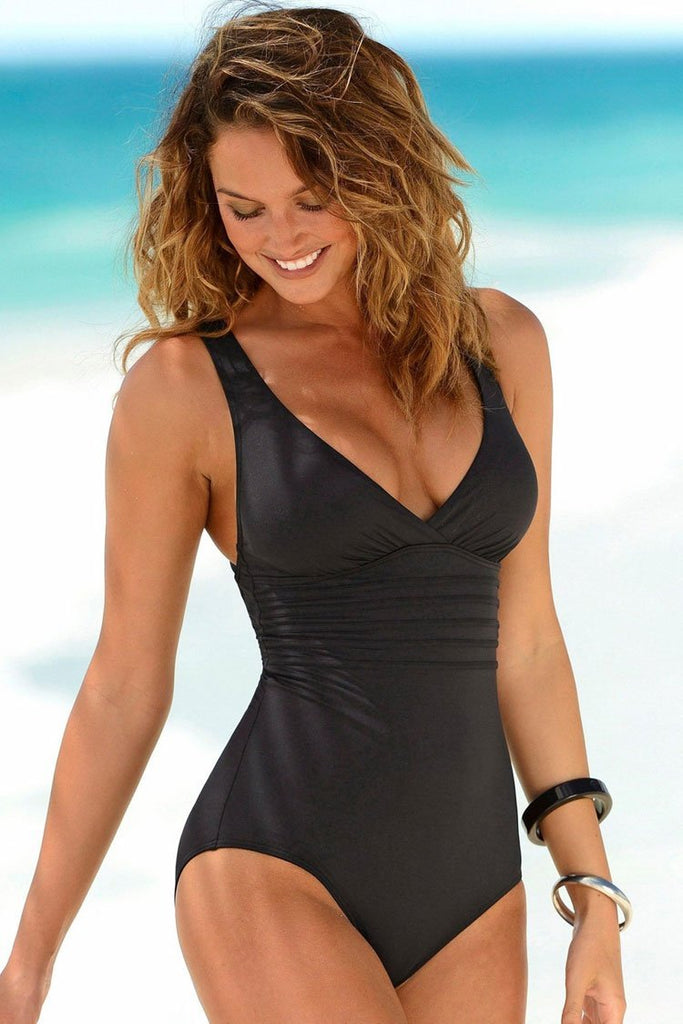 One Piece Crisscross Strappy Back Ruched V Neck Halter Swimsuit SO340
