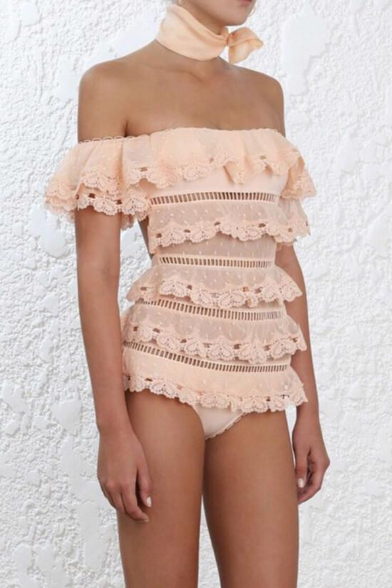 One Piece Luxury Layered Lace Off Shoulder Swimsuit SO451