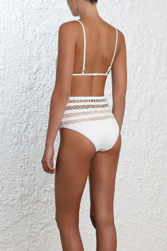 White Plunged V Lattice Hollow Out One Piece Luxury Swimsuit SK0312
