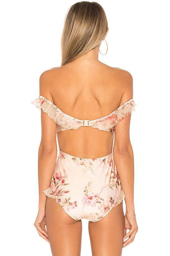 Layered Ruffle Off Shoulder Bodice Floral Mesh One Piece Luxury Swimsuit SK0303