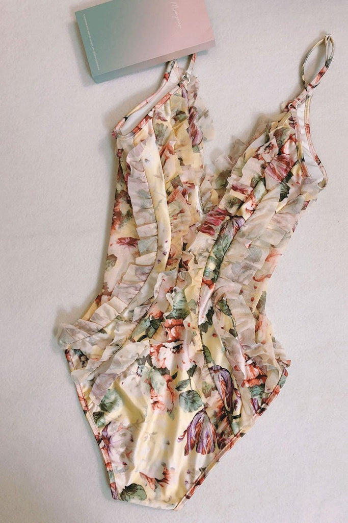 Floral Printed Semin-sheer Mesh Ruffle Trim One Piece Luxury Swimsuit SK0306