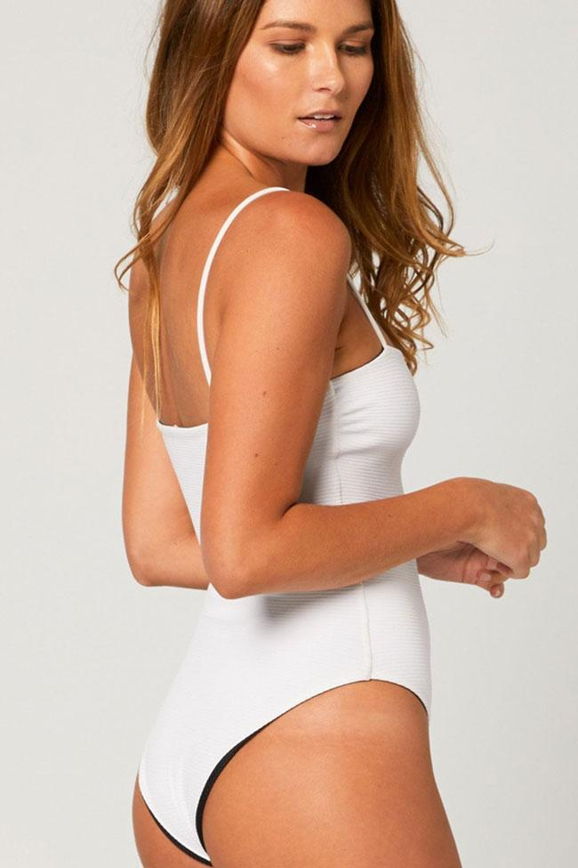 One Piece Solid Ribbed Spaghetti Straps Swimsuit SO196