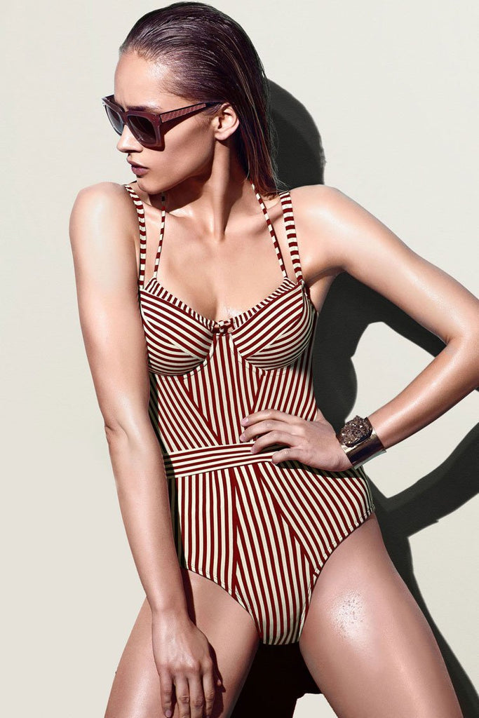 One Piece Striped Halter Underwire Swimsuit SO114