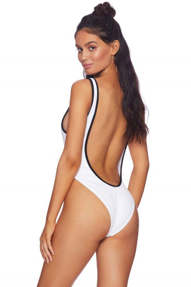 One Piece Contrast Color Edge High Leg Low Back Swimsuit SO256