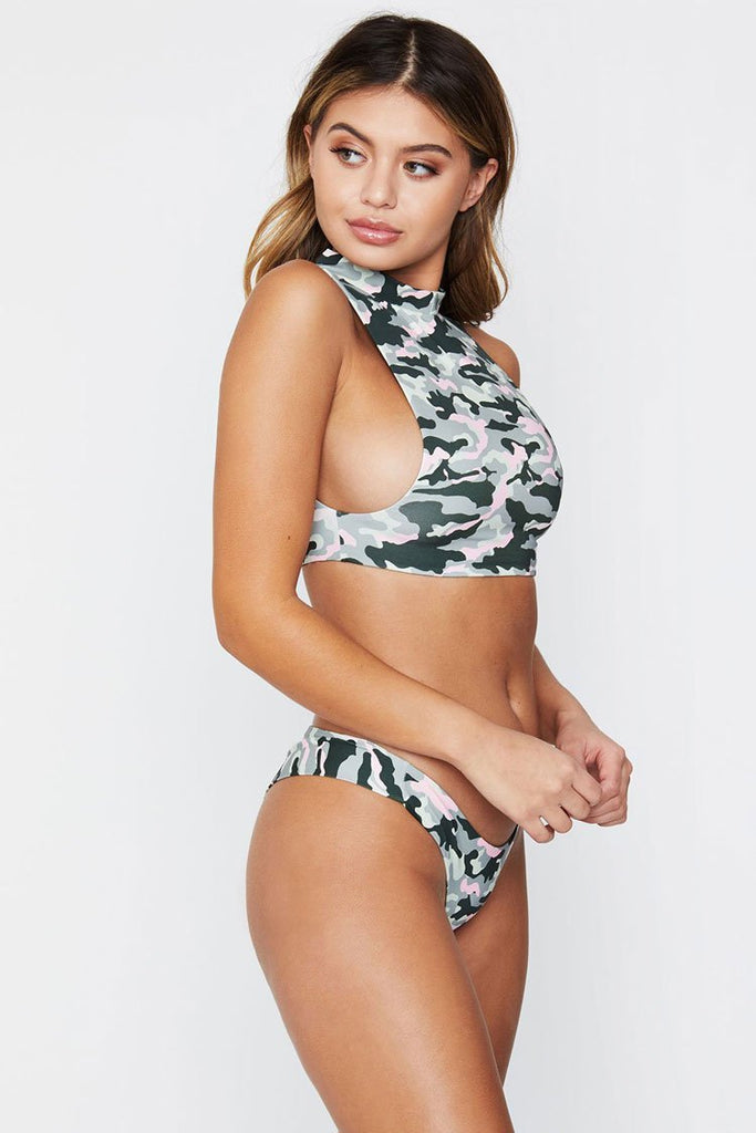 Sport Camo Printed Bathing Suit Cutout Two Piece Bikini Swimsuit SK0361