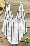 One Piece Nautical Striped Knotted Deep V Neck Low Back Swimsuit SO254