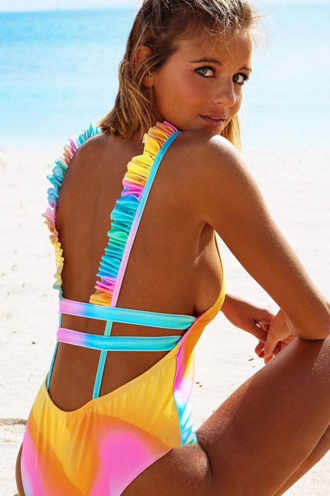 One Piece Rainbow Ruffle Trim Strappy Low Back Deep V Swimsuit SO166