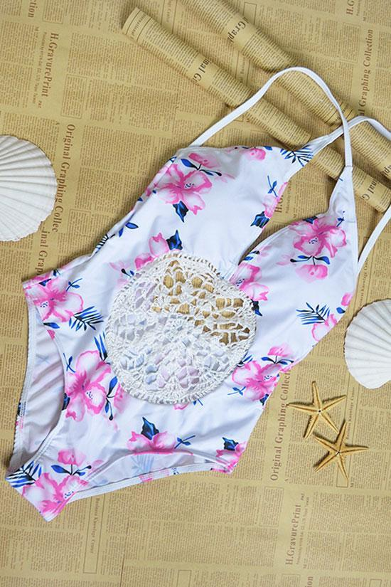One Piece Floral Low Back Crochet High Cut Swimsuit SO448