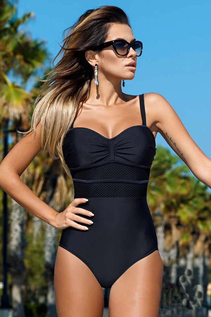 One Piece Vintage Color Block Bandeau Bodic Swimsuit SO285