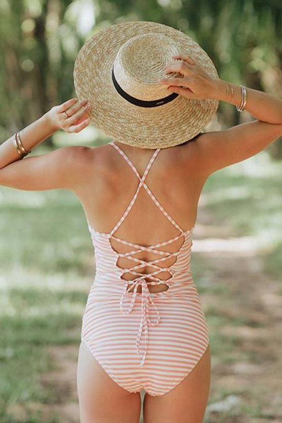 One Piece Nautical Striped Crisscross Strappy High Neck Swimsuit SO108