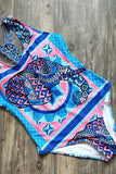 One Piece Ethnic Printed Strappy Macrame Knotted Back Brazilian Swimsuit SO157