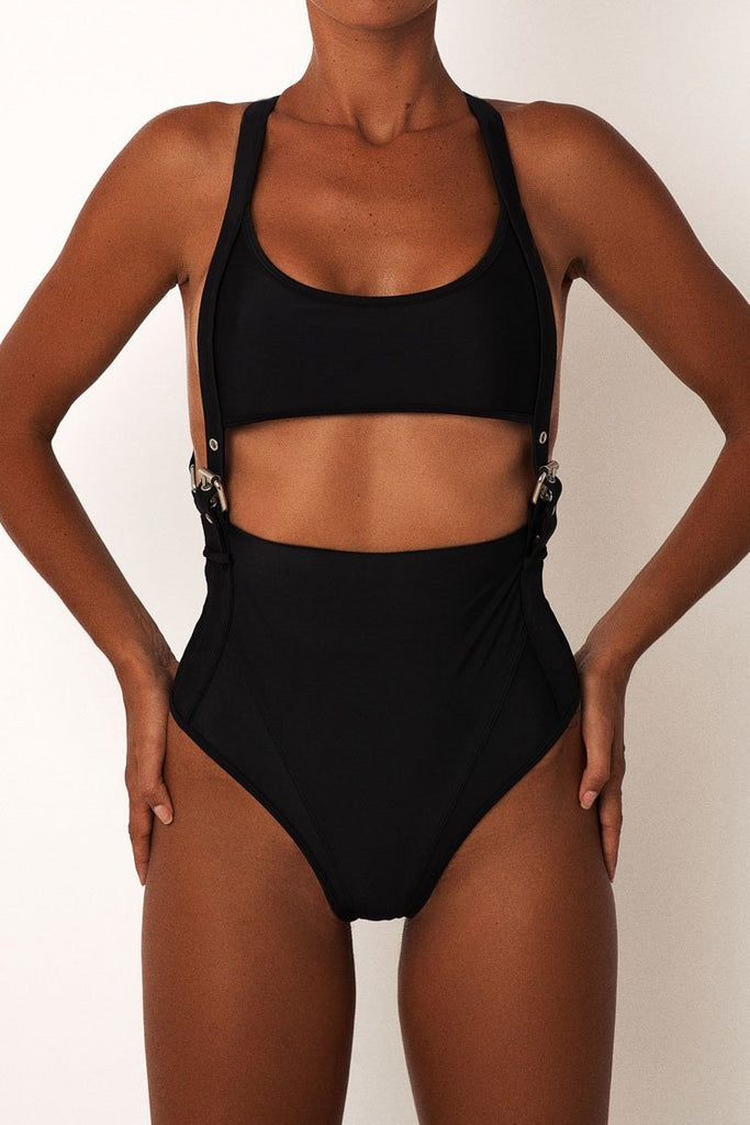 One Piece Solid Low Back Buckle Side Cutout Swimsuit SO335