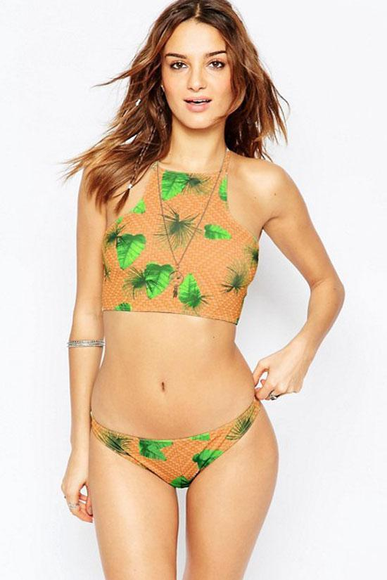 Cheeky Palm Leaf Cross Straps High Neck Two Piece Bikini Swimsuit SK0345