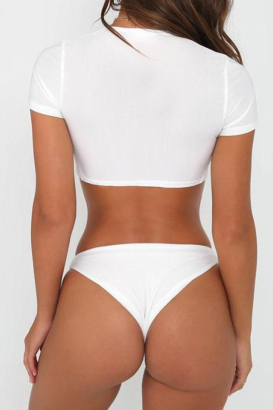 Solid White Short Sleeve Knotted Summer Swimsuit SB39