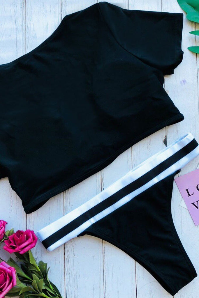 Short Sleeves Black Two Piece Swimsuit SB246