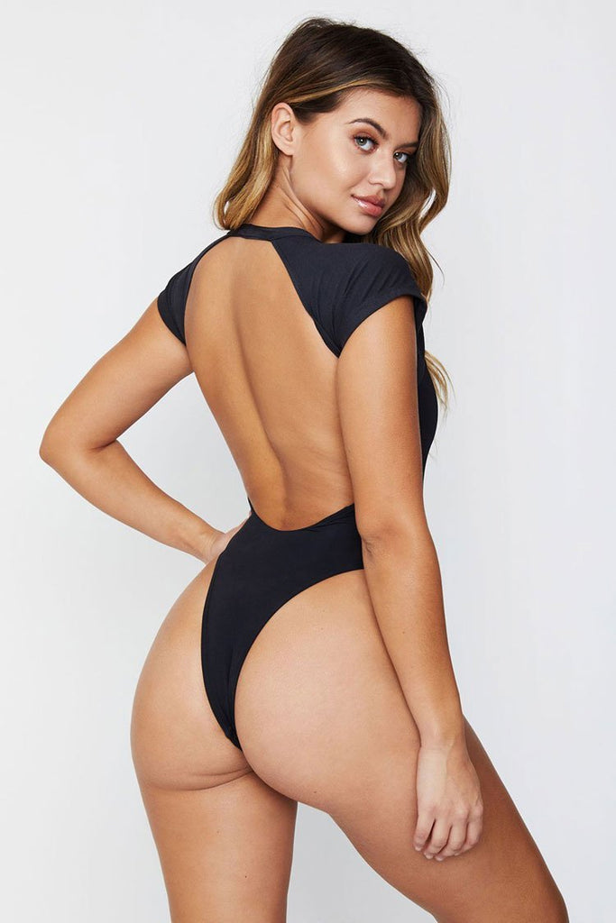 One Piece Sexy High Leg Low Back Raglan Sleeve Swimsuit SO101