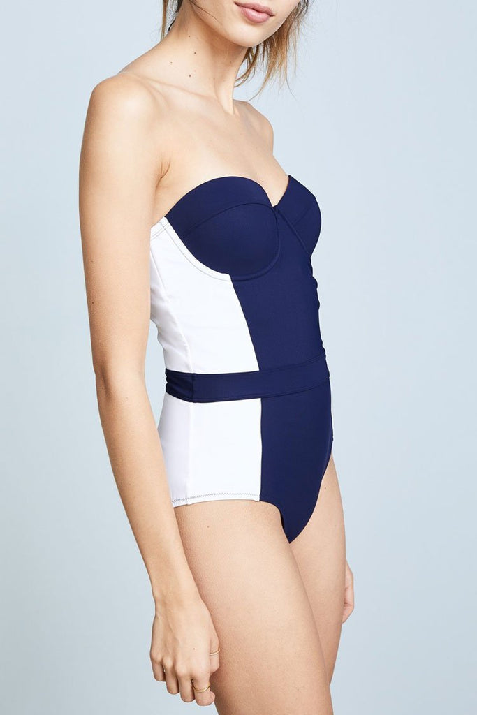 One Piece Elegant Color Block Push Up Bandeau Swimsuit SO442